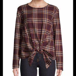 Design Lab Plaid Tie-Front Flannel Blouse